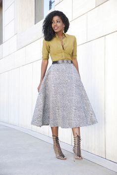 Fitted shirt, swing midi skirt & embellished belt