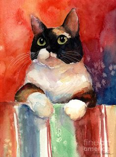 Calico Cat Painting - Pensive Calico Tubby Cat Watercolor Painting by Svetlana Novikova Watercolor Cat, Watercolor Paintings, Cat Paintings, Art Et Illustration, Illustrations, Inspiration Art, Cat Colors, Cat Drawing, Oeuvre D'art