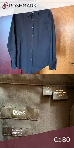Hugo boss dress shirt Men's Hugo Boss dress shirt Slim fit stretch material size 16 Hugo Boss Shirts Dress Shirts Light Blue Dress Shirt, Grey Shirt Dress, Fitted Black Dress, Slim Fit Dress Shirts, Slim Fit Dresses, Fitted Dress Shirts, Hugo Boss Shirts, Shirt Men, Shirt Shop