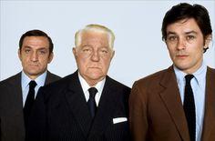 With Lino Ventura and Jean Gabin; promo for Le Clan des Siciliens.
