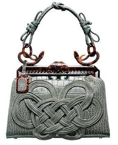 Dior Samourai 1947 Gray Crocodile Bag features a leather-wound intricate Japanese knot, and  turtle shell clasp