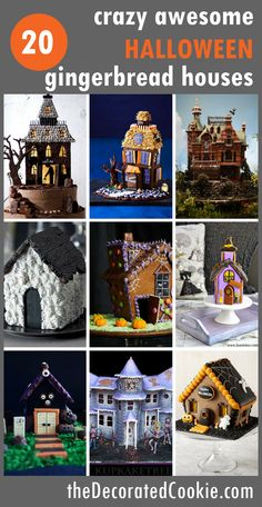 An awesome roundup of 20 haunted Halloween gingerbread houses! Fun food ideas for your Halloween party or Halloween decor. Halloween Desserts, Halloween Goodies, Halloween Food For Party, Holidays Halloween, Halloween Treats, Halloween 2019, Halloween Decorations, Halloween Gingerbread House, Gingerbread House Parties