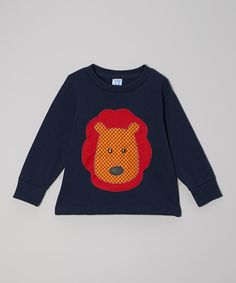 Take a look at this Navy & Orange Lion Face Tee - Toddler & Kids by little bits on #zulily today! $17 !!