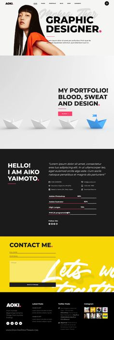 Aoki is clean, bold and modern design responsive multipurpose theme for creative showcase website with 15 awesome niche homep. Portfolio Website Design, Portfolio Web Design, Web Design Tips, Creative Portfolio, Portfolio Examples, Design Ideas, Artist Portfolio, Homepage Layout, Website Layout
