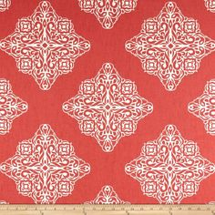 Tempo Esperanza Coral/Off White from @fabricdotcom  Screen printed on cotton duck; this versatile, medium weight fabric is perfect for window accents (draperies, valances, curtains and swags), accent pillows, bed skirts, duvet covers, slipcovers, upholstery and other home decor accents. Create handbags, tote bags, aprons and more. Colors include coral and off-white.