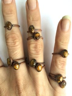 Tigerseye ring Simple tiger eye stacking ring Tiny by HAWKHOUSE