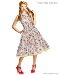 1950s Style Blue Floral Dress