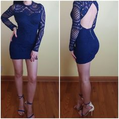 Open back backless lace short party dress
