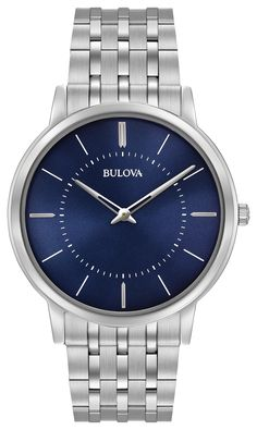 90c8a9f01ae Bulova Mens Watch with ultra-slim stainless steel and blue dial