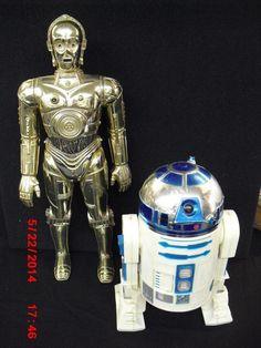 Vintage STAR WARS C3PO and R2D2 FIGURES 1977 Kenner  #Kenner