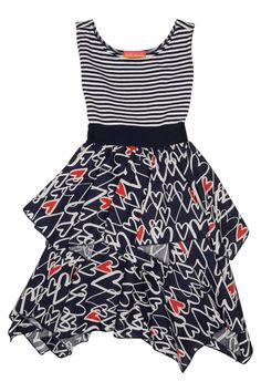 The happy combo of stripe and scribble heart print on this adorable dress will be just perfect for your little tween fashionista. She'll especially love the trendy tiered skirt! - Delightful scribbled hearts topped with jaunty blue and white stripes is a true masterpiece - Features a knit top with cap sleeves and a tiered woven skirt - Sweet button back with a red waistband and sash tie - Care Instructions: Machine Wash - Dress upper made from a 95% cotton/5% spandex blend - lower is 100%…