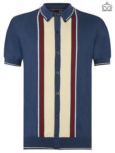 Merc Jesse Knitted Polo Shirt   www.modwear.co.uk Fashion Inspiration, Design Inspiration, Clean Living, Mod Fashion, Striped Cardigan, Polo Shirt, T Shirt, Knitting Designs, Rockabilly