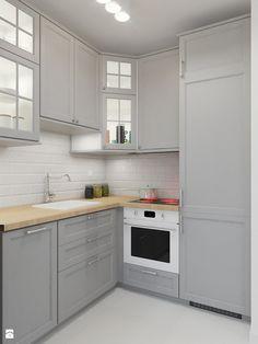 KAWALERKA 32M² – KAMIONEK - Mała otwarta kuchnia w kształcie litery l, styl rustykalny - zdjęcie od Devangari Design