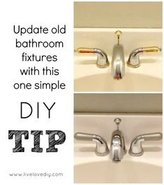 1. remove the handles and drain stopper and spray painted them with the same spray paint. 2. rather then take the whole thing off, use a Krylon Short Cuts Paint Pen. brush it around the gold parts on the bottom and at the tip of the spout.  The whole upgrade cost so much less than it would have if replaced the faucet.