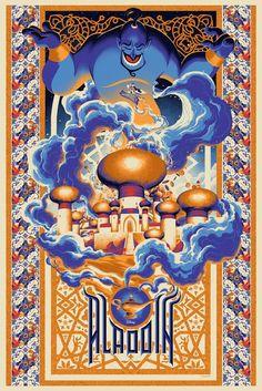 Mondo X Cyclops Print Works Print Aladdin by Matt Taylor Mondo X Cyclops Print Works Present Never Grow Up: A Disney Art Show Posters Disney Vintage, Disney Movie Posters, Disney Animated Movies, Vintage Cartoon, Walt Disney, Disney Love, Disney Magic, Disney And Dreamworks, Disney Pixar