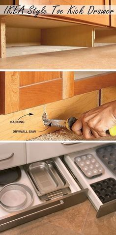 to Build Under-Cabinet Drawers & Increase Kitchen Storage IKEA Style Toe Kick Drawer Storage - Genius Storage Ideas for Small Kitchens Under Cabinet Drawers, Ikea Storage Drawers, Organizing Drawers, Small Drawers, Organising, Cocina Diy, Cuisines Design, New Homes, Tiny Homes