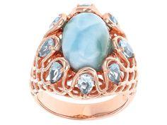 Timna Jewelry Collection(Tm) Larimar With 1.77ctw Glacier Topaz(Tm) Copper Ring