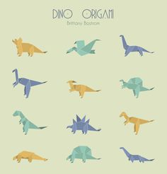 dino origami vector icon set by student Brittany Bostrom