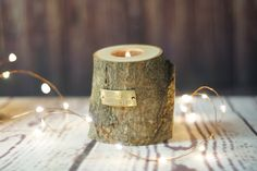 Choose Happiness Log Candle Holder, Rustic Home Decor, Woodland Fairy, Reclaimed Wood, Rustic Tealight Holder, Gift for her, Gftwoodcraft