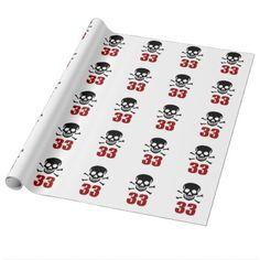 #33 Birthday Designs Wrapping Paper - #giftidea #gift #present #idea #number #33 #thirty-third #thirty #thirtythird #bday #birthday #33rdbirthday #party #anniversary #33rd