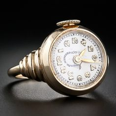 No time on your hands? A very cool ring and watch combo with a classic Retro design along the shoulders. Cresarrow Watch Co. This ring cannot be sized Ring Watch, Bracelet Watch, Gem Diamonds, Antique Watches, Stylish Watches, I Love Jewelry, Beautiful Watches, Retro, Fashion Watches