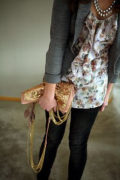 Sweet floral print with gray and black, vintage necklace and embellished handbag - love the ruffles w cardigan!