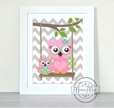 Owls+Nursery+art++Owls+with+Swing+Print++wall+art++by+MuralMAX,+$20.00
