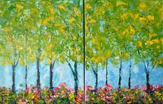 Trees Wall Art Original Acrylic Diptych Painting on by VickisArt