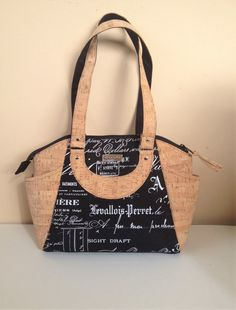 Cork Shoulder Bag Black Upholstery Purse by NormasBagBoutique