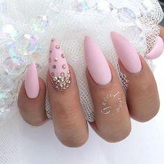 Pastel Pink Stiletto Nails With Rhinestones