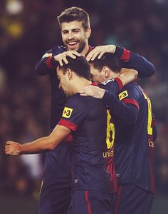 Piqué (he's so tall), Xavi and Messi