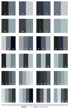 Black & White color schemes, color combinations, color palettes for print (CMYK) and Web (RGB + HTML)
