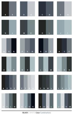Black & White color schemes, color combinations, color palettes for print (CMYK) and Web (RGB + HTML)