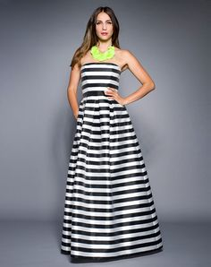 Black and White Striped Strapless Gown