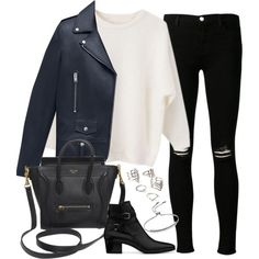 Untitled#2793 by fashionnfacts on Polyvore featuring Yves Saint Laurent, J Brand, CÉLINE, Forever 21 and Monica Vinader