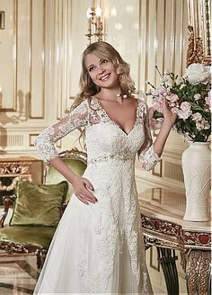 Buy discount Stunning Lace & Tulle V-neck Neckline A-line Wedding Dress at Dressilyme.com