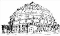 """Stephen Wiltshire, Male, age 10, """"The Albert Hall"""", 1984, Queensmill School, London, UK.The achieved perspective of this drawing suggests the psuedo-naturalistic stage. Stephen is autistic and was non-verbal as a child. He began drawing at the age of 5, and was quickly noticed by the community. Stephen draws realistic and accurate representations of cities after observing them briefly. He was given an MBE award from the Queen in 2006, for his contribution to the art world."""