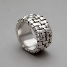 Wide Silver Ring  Handmade Fine Silver Jewelry  by toolisjewelry, $380.00