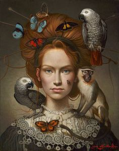 """Ukrainian-born Canadian painter* Yanina (Yana) Movchan was born in Kiev. Yana's sublime mastery of the technique and structure of Renaissance painting* combines with the instinctive symbolism* of """"magical realism"""" to create a personal neo-realist idiom. Illustrations, Art And Illustration, Arte Fashion, Magic Realism, Renaissance Paintings, Arte Pop, Portrait Art, Art Inspo, Amazing Art"""