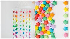 Una idea hermosa para decorar tu casa y la habitación de los peques. Haz este móvil con estrellas de origami lleno de color... Jewelry, Ideas, Origami Stars, Origami Step By Step, House Decorations, Party, Colors, Manualidades, Sweetie Belle