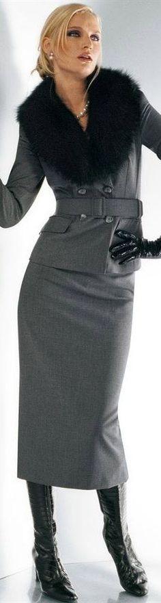 Grey suit with fur trim.   Winter 2014