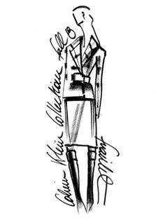 Sketch by Francisco Costa for Calvin Klein Collection Fall/Winter 2013-2014