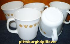 5 - Corning -Butterfly Gold Coffee / Mug Cups -EUC - No Chips Or Cracks - Price is for Each by pittsburgh4pillows on Etsy