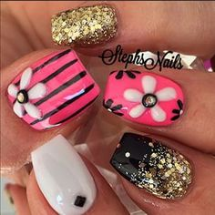 Acrylic nails by Steph Great Nails, Fabulous Nails, Cute Nail Art, Gorgeous Nails, Hot Nails, Hair And Nails, Manicure Y Pedicure, Fancy Nails, Flower Nails