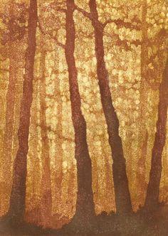 Forest No. 7 - Woodblock Reduction Print - OOAK Original Handpulled Fine Art Print Limited Edition Moku Hanga. andrea starkey