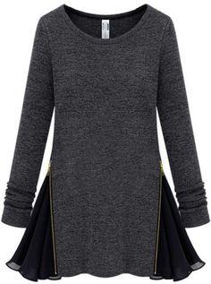 Langarm-Kleid mit Chiffon und Reißverschluss, dunkelgrau 14.43