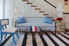 Gorgeous upholstered pieces, and a stunning greek-keyed x-bench for the Rothesay Richmond Symphony Designer House, by Interior Designer - Tobi Fairley!