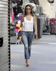Busy day: Alessandra Ambrosio went for a casual look as she was seen attending meetings in...