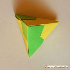 Construcción poliedros| origami modular: tetraedro | matematicasVisuales