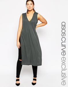 552754afb6fdc ASOS CURVE Sleeveless Tunic in Crepe with Split Sides at asos.com. Oversized  ShirtCurvy FashionTrendy Plus Size ...